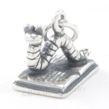 3D BOOK WORM Teacher Charm Pendant School Reading Writing 925 STERLING SILVER