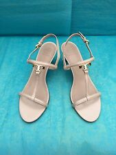 TORY BURCH T GOLD LOGO BEIGE PATENT LEATHER SANDALS SIZE 9 M