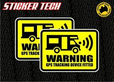 2 x WARNING MOTORHOME GPS ALARM SYSTEM FITTED STICKER DECAL 4 BUS JAYCO RV CAMP