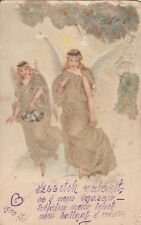 Antique 1900 glass pearls handmade chromo fantasy postcard Angels, Anges, Engels