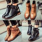 Women's Elastic Buckle Martin Boots Ankle Boots Low Block Heel Fur Lined Shoes