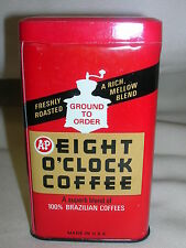 VINTAGE A & P EIGHT O'CLOCK COFFEE TIN BANK Great Atlantic & Pacific Co.