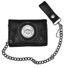 Harley-Davidson Men's Medallion Tri-Fold Chain Wallet Black Leather TC316H