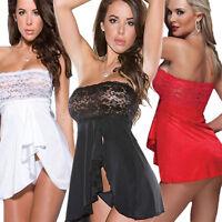 Sexy Lingerie lace Sheer Babydoll Dress Nightwear Underwear Sleepwear G-String