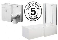 1700 L Shower Bath 600 Vanity Unit 500x200 BTW Pivot Screen Bathroom Suite L/H