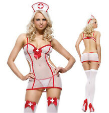 Free Size Teddies Bodysuit Sexy White red Lace Nurse Cosplay Erotic Lingerie Hat