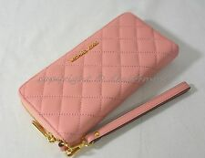 Michael Kors Quilted Leather Continental Zip Around Wallet/Wristlet in Pale Pink