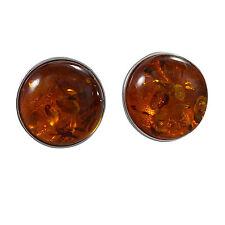 Schmuck-Michel Women's Ear Studs Silver 925 Amber 12 mm (2192)
