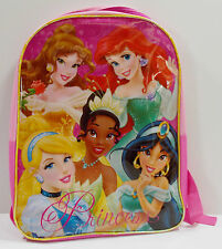 "Disney Princesses School Book Bag 15"" Pink Easy Wipe Clean Plastic Front"