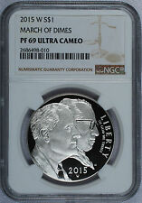 2015 - W March of Dimes Commemorative Silver Dollar - NGC PF 69 Ultra Cameo