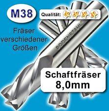 8mm Fräser L=63 Z=4 M38 Schaftfräser Metall Kunststoff Holz vergl. HSSE HSS-E