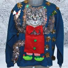The MOTHER of All UGLY CHRISTMAS CAT Sweaters, Flashing Lights, 44