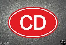 RED CD CORPS Diplomatic STICKER for Auto Car Bumper Seal Aufkleber Autocollant