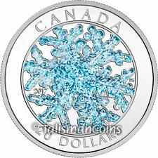 Canada 2017 Snowflake $20 Pure Silver Proof with Silvery Blue Glitter Enamel
