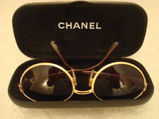 VINTAGE CHANEL GOLD-TONE METAL LADIES' SUNGLASSES WITH CASE, MODEL# 08843 50927