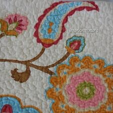 ASHBURY 3PC KING QUILT SET Jacobean Floral Paisley Pink Teal Pink Cotton NEW
