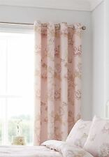 "FLORAL CHRYSANTHEMUMS PASTEL PINK LINED 66""X72""-168X183CM RING TOP CURTAINS"