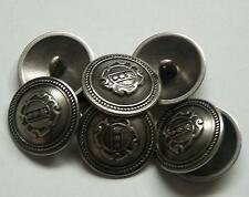 8pc 15mm American Inspired Pewter Colour Metal military Button  2253