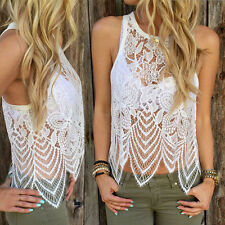 Sexy Womens Summer Lace Crochet Vest Tank Top Sleeveless Blouse Shirt #XL VF-A