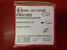 APEC FRONT BRAKE PADS TO SUIT SKODA FABIA ROOMSTER VW POLO CORDOBA PAD1252