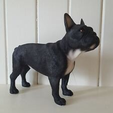 BLACK AND WHITE FRENCH BULLDOG DOG ORNAMENT FIGURINE GIFT BOXED