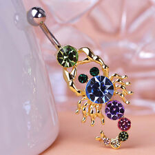 Navel Belly Bars Crystal Dangly Body Piercing Belly Button gold plated Scorpion