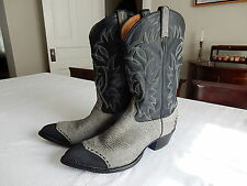 Vintage Tony Lama Cowboy Boots Mens 13 D Stingray/Gray Leather Made in USA