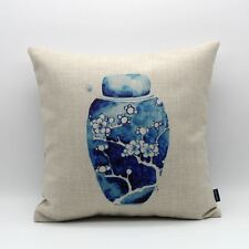 "18"" Chinese Blue And White Porcelain Plum Flower Linen Cushion Cover Pillow Case"