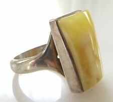 Vintage Baltic Butterscotch Amber Sterling Silver Ring Size 8 8.5 Large 925