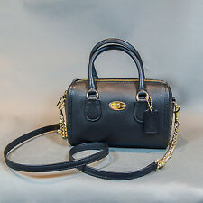 new $250 coach black genuine leather baby bennett satchel shoulder purse bag