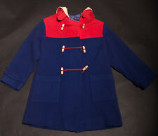 50s 'Noddy' Original Red and Blue Duffle Coat with Embroidered Cute Noddy Motif