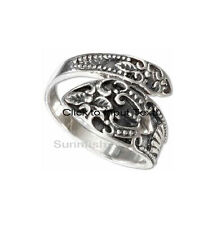 GENUINE 925 STERLING SILVER DETAILED DESIGN SPOON RING SIZE 9