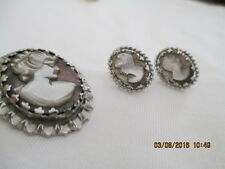 Dixelle Sterling Silver Lavender Cameo Pendant/Pin Brooch/Necklace Earrings Ex!!