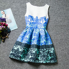 Girls Floral Print Belted Dress Kids Summer Skater Party Dresses For 7-13 Years