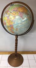 """Vintage Globe Master 34"""" Pedestal Floor Stand & 12"""" Diameter World Globe"""