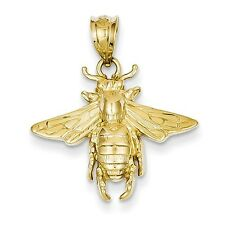 14k Yellow Gold Solid Open-Backed Bee Pendant. (0.9INx0.8IN)