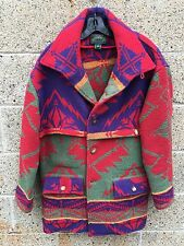 Ralph Lauren Wool Coat Polo Navajo Country Red Winter Indian Blanket Barn Jacket