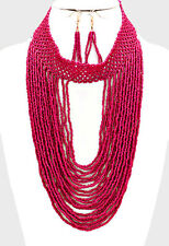 "16"" fuchsia seed bead collar choker bib Necklace 3"" earrings Jewelry body chain"