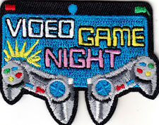 """VIDEO GAME NIGHT"" - Iron On Embroidered Applique Patch - GAMBLING - GAMES - FUN"