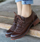 Retro Oxfords Womens Brogues Flats Tassels Wingtip Lace Up British Style Shoes