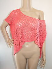 PINK S/S THINK CORCHET KNIT CROP SLOUCH OVERSIZED TOP SIZE XXXS / 8 - SUPRE