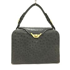 100% Authentic Elegance Ostrich Genuine Gray Leather Hand Bag / 3021