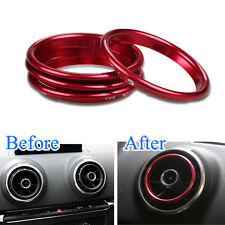 4x Interior Red Dashboard Air Vent Outlet Ring Cover Trim For Audi A3 8V 12-2015