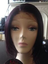 Lace Front Wig Synthetic Short 99 J  Red  Plumb Burgundy Black Streaks