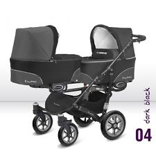 Double Twin Pram Buggy BabyActive Twinni 2017 3 in 1/ travel system BLACK
