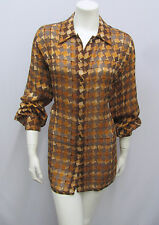 ESCADA 100% SILK BLOUSE TOP SHEER JUMBO HOUNDSTOOTH PRINT BROWN TONES  SIZE 40