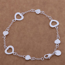 925 Silver Plated Love Heart Bracelet Charms Bangle Fashion Women Jewelry Gift