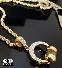 Men Hip Hop Full Iced Out Rapper CZ Headphone Pendant w/ 4mm Rope Chain Necklace