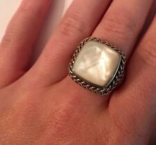 STUNNING WOMEN'S STERLING SILVER RING SQUARE SHAPED MOTHER OF PEARL STONE!