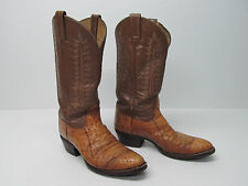 TONY LAMA 5035 OSTRICH COWBOY BOOTS TAN BROWN EMBROIDERED Sz MEN'S 8.5 B